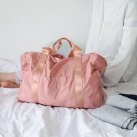 折�B旅行包女男短途手出差旅游�n版�p便��s大容量行李袋 (�F�) 折�B旅行包 粉色 大