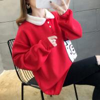 加绒加厚卫衣女秋冬季新款韩版学生宽松百搭长袖娃娃领上衣潮