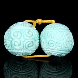 原矿高瓷高蓝绿松石回纹珠对珠 直径12mm