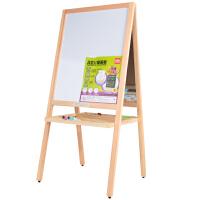 得力磁性儿童画板立式木画架双面写字板白板绿黑板涂鸦写字板7897