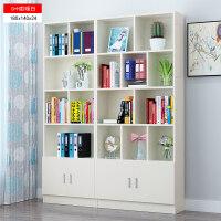 简约现代书架简易书柜书橱落地自由组合置物架储物柜子带门 G+
