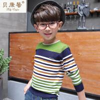 贝康馨童装 男童彩色条纹套头毛衫 韩版经典时尚彩色条纹组合毛衫新款秋装