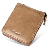 男士钱包短款拉链多功能卡包头层牛皮驾驶证青年男式皮夹钱夹