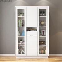 家具书柜书架创意组合带玻璃门储物柜简约现代烤漆书橱置物架 1.2-1.4米宽