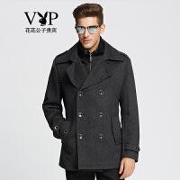 花花公子贵宾时尚简约保暖加厚羊毛大衣