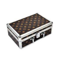 化妆箱 手提化妆品收纳包 铝合金多功能大容量大号美甲工具箱 卡其