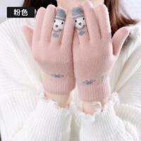 手套女冬季韩版加厚加绒保暖学生时尚五指情侣出游针织毛线手套