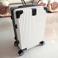 行李箱女24寸拉杆箱万向轮大学生韩版密码皮箱子男小清新旅行箱26 黑配白(拉丝 复古款)