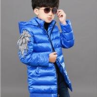 羽绒服男童季加厚黑色小男孩学生宝宝4-12岁韩版棉袄外套棉衣服