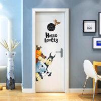 儿童房卡通墙贴幼儿园门贴卧室柜门房门贴纸北欧ins贴画墙壁装饰