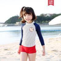 新款长袖儿童游泳衣套装户外中大童女童分体防晒泳衣学生速干宝宝女孩泳衣