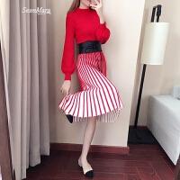 针织红色连衣裙春装2018新款裙子女a字裙显瘦打底毛衣裙长款过膝 现拍下送价值99元腰带