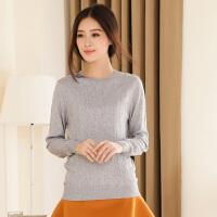 春季新款女士圆领纯羊绒衫修身短款长袖针织打底衫毛衣