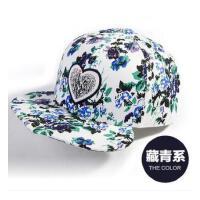 女夏天韩版潮时尚印花平沿鸭 舌帽嘻哈帽 棒球帽爱心刺绣