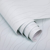 三合 PVC自粘墙纸 带胶壁纸 墙贴 45cm*10m素色曲线纹2061-1
