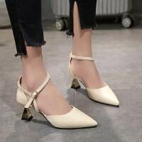 韩版时尚细跟尖头浅口高跟鞋一字扣单鞋女chic凉鞋女