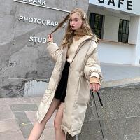 MG小象中长款宽松羽绒服女2019新款冬季韩版学生长过膝连帽厚外套