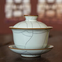 龙泉青瓷盖碗茶杯大号茶碗家用三才盖碗套装铁骨王文陶瓷功夫茶具