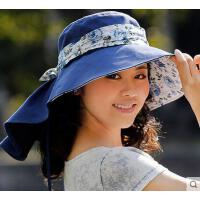 户外女帽大沿沙滩旅游太阳帽夏天女遮阳防晒紫外线韩版可折叠