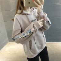 连帽卫衣女2018春装新款宽松套头学生韩版刺绣字母小清新外套