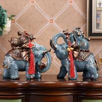 大象摆件一对风水象客厅玄关酒柜家居装饰品镇宅开业结婚礼品 大象摆件-A款