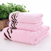 竹纤维毛巾浴巾三件套洗脸礼盒套装家用结婚生日礼品福利 140x70cm
