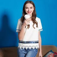 欧莎女装夏季OL风短袖直筒蕾丝舒适肤透气衬衫女SC505053