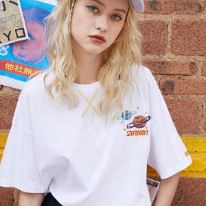 PASS白色短袖t恤女2018夏装新款韩版圆领宽松学生上衣潮