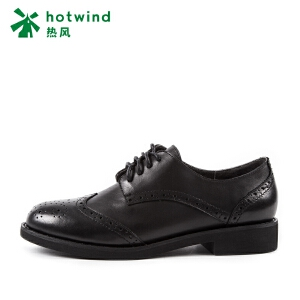 热风hotwind2018新款女士平底鞋低帮鞋英伦风系带女鞋H02W7102