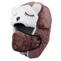 户外儿童雷锋帽护耳宝宝帽子保暖加厚可爱男女童口罩冬帽
