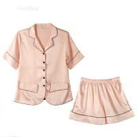 丝绸睡衣女两件套短袖短裤性感简约翻领衬衫家居服套装