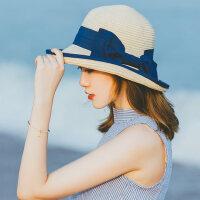 女士太阳帽户外出游沙滩帽 新款草编渔夫帽宽檐蝴蝶结礼帽 时尚百搭遮阳帽子女