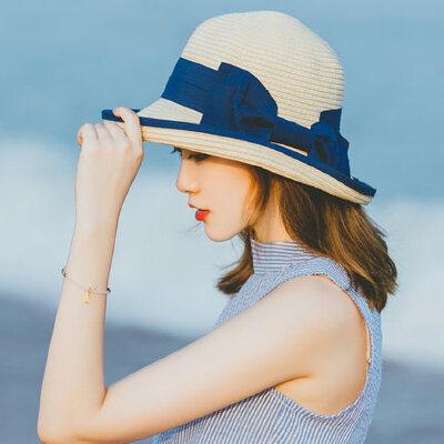 女士太阳帽户外出游沙滩帽 新款草编渔夫帽宽檐蝴蝶结礼帽 时尚百搭遮阳帽子女 品质保证 售后无忧