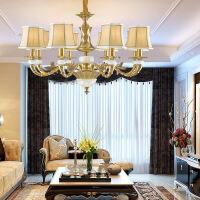 照明美式全铜吊灯客厅灯欧式吊灯纯铜玉石灯餐厅卧室灯具