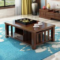 功夫茶几客厅小茶桌全实木茶几现代中式小户型功夫茶几客厅茶桌橡胶木茶台 组装