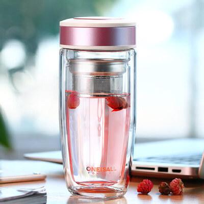 双层玻璃杯办公室茶杯网红透明好看的水杯便携隔热保温杯子女外出