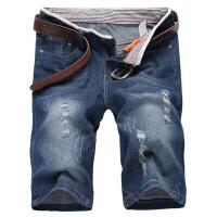 男士牛仔短裤七分裤夏季薄款7分裤夏天五分裤直筒宽松大码韩版