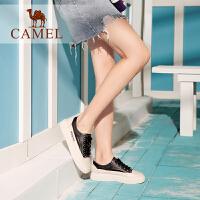 骆驼女鞋2019新款春季真皮休闲板鞋女韩版系带平底女单鞋小白鞋女