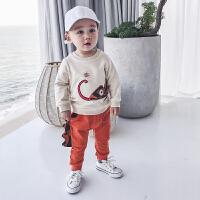 男童春装新款套装韩版0一5岁宝宝纯棉百搭卫衣儿童卡通休闲两件套