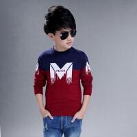 男童毛衣套头羊毛衫儿童针织衫中大童15圆领线衣打底衫双层加厚 红色 大M