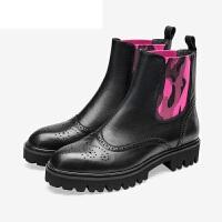PITTI DONNA粗跟圆头套筒短靴女靴切尔西靴女8T35901