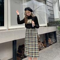 MG小象时尚格子半身裙2019秋季新款修身中长款A字裙学生复古裙子