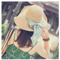 遮阳帽女夏天防晒沙滩帽子海边大沿太阳帽可折叠度假出游草帽甜美