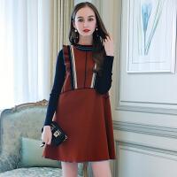 欧洲站女装春新款针织衫+木耳边织带连衣裙两件套娃娃裙