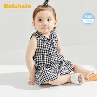 巴拉巴拉婴儿公主裙儿童连衣裙夏女童裙子宝宝格子裙透气