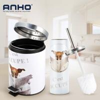 ANHO 垃圾桶家用 有盖 客厅 卫生间 厨房创意欧式不锈钢脚踏式 带盖垃圾筒