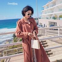 收腰chic风衣女中长款韩版2018春装新款修身显瘦外套女潮 浅砖红 S