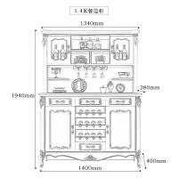 欧式餐边柜 实木 厨房柜 微波炉柜 碗柜 酒柜 储物柜 美式 茶水柜 双门
