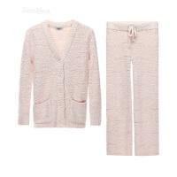 日系秋冬季珊瑚绒睡衣长袖法兰绒加厚女休闲家居服套装可外穿大码 浅粉色套装