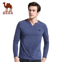骆驼男装 秋季时尚门筒领绣标纯棉商务休闲长袖T恤衫 男